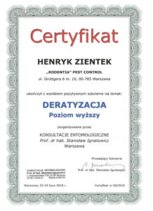 certyfikat deratyzacja HZ pw