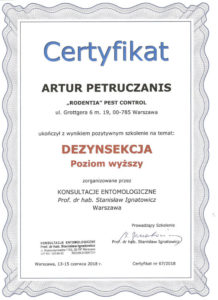 certyfikat dezynsekcja AP pw